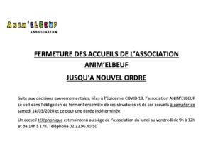 COVID-19 FERMETURE DES STRUCTURES D'ANIM'ELBEUF JUSQU'À NOUVEL ORDRE